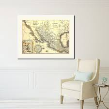home office mexico. English Map Of Mexico Antique Color Home Office Room Décor Art Gift 36075 #Handmade N