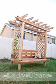 outdoor bench with arbor