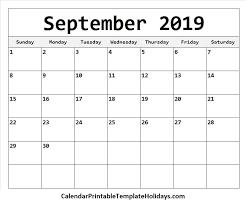 2019 Calendar Printable Template September 2019 Calendar Calendar Printable Template Holidays 2019