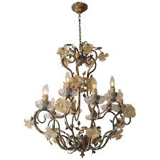 italian chandelier with glass flowers for