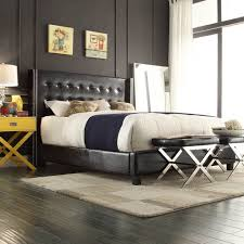 INSPIRE Q Marion Faux Alligator Leather Nailhead Wingback Tufted Platform  Bed by INSPIRE Q