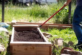 raised bed gardening mixing soil