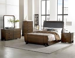 Mid Century Modern Bedroom Sets Minato Mid Century Modern 4p Brown Cherry Wood Vinyl Queen Bedroom Set