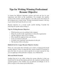 Professional Resume Objective Statements Resume Templates