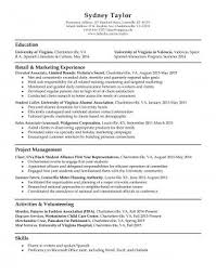 Resume Education Examples Resume Samples Uva Career Center