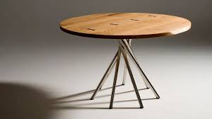 contemporary table wooden round tosai by peter maly