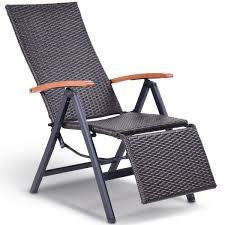costway patio folding chair lounger recliner chair rattan aluminum garden recliner chair 2