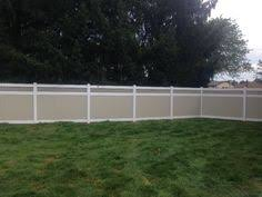 Image Pvc Vinyl Privacy Fence With Mix n Match Beige Panels And White Posts Rails And Caps With Square Lattice Topper Ketcham Fence 101 Best Vinyl Fence Pictures Images Pvc Vinyl Privacy Fences