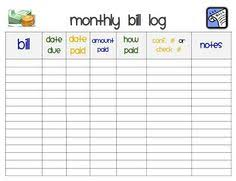 Free Printable - Monthly Bill Payment Log Shared By Pinterest.com ...