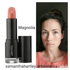 summer makeup for a natural look arbonne magnolia lipstick with apple and watermelon extracts and peptides for moisture and lip volume and 4 hour colour
