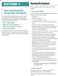 Masshealth Eligibility Income Chart For Health And Dental Coverage And Help Paying Costs Pdf