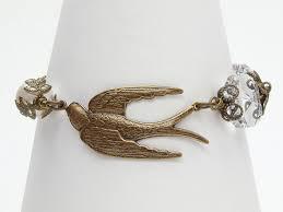 neo victorian gold bracelet filigree leaf bird charm chandelier crystal swarovski pearl chain wedding jewelry