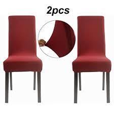 homluxe ultra soft stretch dining room chair covers 2 dark red knit