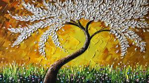 paint a white leaves tree with palette knife demo version