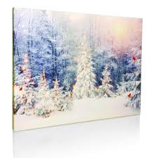 Canvas Christmas Prints With Led Lights Winter Scene Canvas Print Led Light Up Print With Red Cardinals And Snowy White Christmas Trees 12 X 16 Canvas Print 2622
