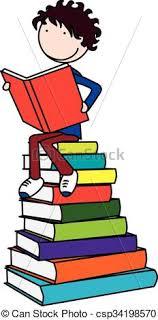 happy kid reading book csp34198570