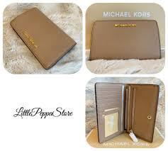 nwt michael kors saffiano leather jet set travel slim bifold wallet dark khaki