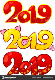 2019 Happy New Year Design Text Elements Happy Chinese New — Stock ...
