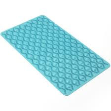 wilko bath mat non slip rubber blue image
