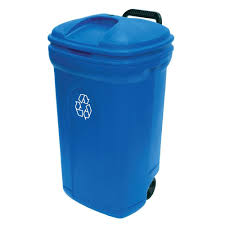 wheeled outdoor trash can recycling in blue