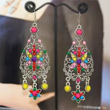long chandelier earrings antique silver colored resin gems