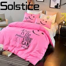 solstice home textile fashion letters craft printing environmental friendly skin comfort bedding sheets quilt cover pillowcase