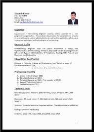 Networking Resume For 1 Year Experience Free Resume Example And
