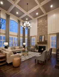 Floor to ceiling fireplace design ideas living room traditional with  coffered ceiling stone wall glass top