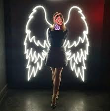 angel wings neon light glass light sign
