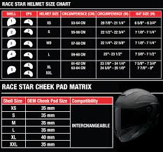 Motorcycle Helmet Measurement Chart Bell Race Star Helmet Size Chart