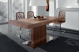 affected rectangle dining table with three unique chair of metal for modern dining table