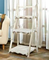 3 tier country scalloped wooden ladder shelf antique white washed plant stand