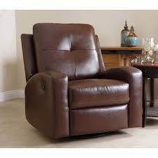 Big Comfy Chair Glider Recliner Easy Chair Swivel Brown Bonded Leather  Turns 360