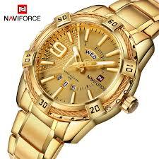 <b>New Fashion</b> Luxury Brand NAVIFORCE Men <b>Gold Watches</b> Men's ...