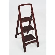 rockford 3 step mahogany wood step stool ladder with 225 lb load capacity type ii duty rating