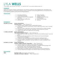 Systems Administrator Resume System Objective Samples Pinterest