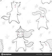 Danza Fox Coniglietto Unicorno Reticolo Senza Giunte Di Istrice