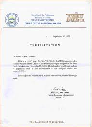 Example Of A Certificate Of Employment Employment Certificate