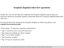 Hospice Chaplain Salaries Hospital Chaplain Interview Questions