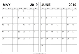 May Blank Calendars May And June 2019 Calendar 2 Months Printable Templates