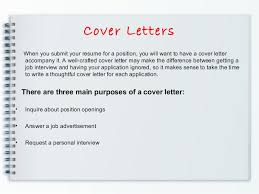 Cover Letters When you submit your resume ...