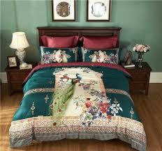 peacock bedding cotton cover bed sheet duvet sets green peacock bedding
