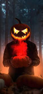 1242x2688 Halloween Glowing Mask Boy 4k ...