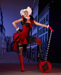 harley quinn cosplay posing with mallet