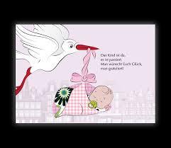 Glückwunschkarte Zur Geburt Mit Storch Und Baby Das Kind Ist Da