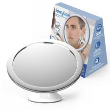 Jerrybox Fogless Shower Mirror for Shaving and Makeup, Adjustable  Collapsible Bathroom Mirror with Powerful Locking Suction Cup, 360 Degree  Rotation, White, ...