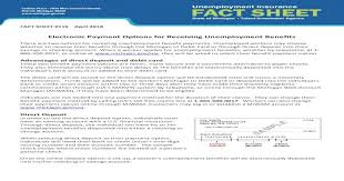 Maybe you would like to learn more about one of these? Electronic Payment Options For Receiving Unemployment Sheet 119 April 2018 Electronic Payment Options For Receiving Unemployment Benefits There Are Two Options For Receiving Unemployment Pdf Document