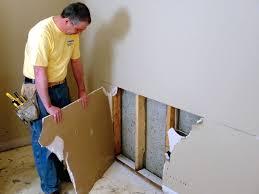 basement wall restoration wet drywall