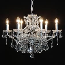 6 branch silver leaf shallow chandelier