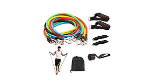 11 Pcs <b>Resistance Fitness</b> Band Set with Stackable Exercise Bands ...